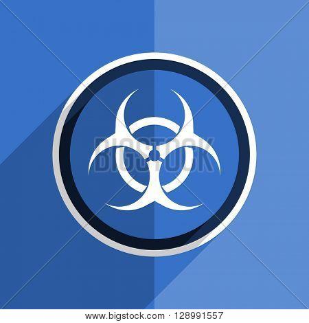 flat design blue biohazard web modern icon