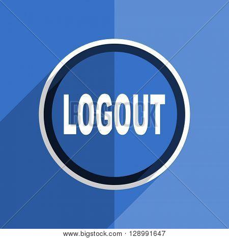 flat design blue logout web modern icon