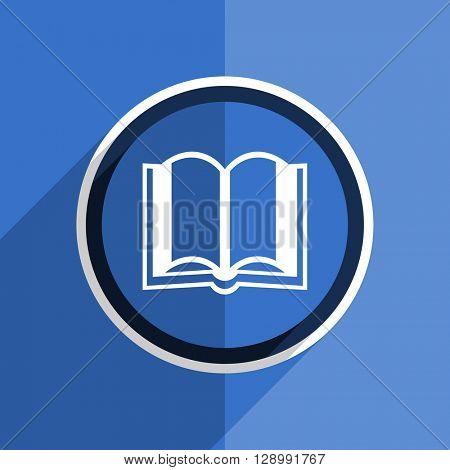 flat design blue book web modern icon