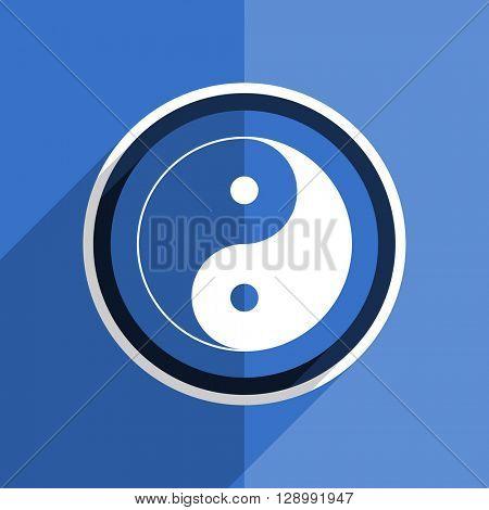 flat design blue ying yang web modern icon