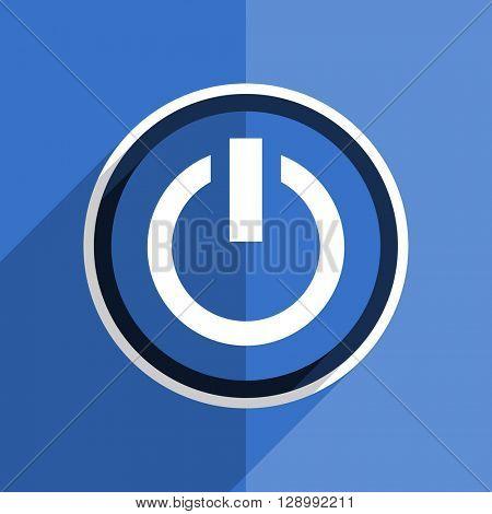 flat design blue power web modern icon