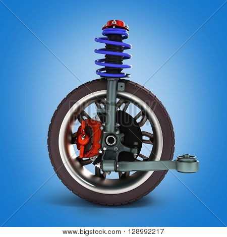 Car Suspension Separately From The Car 3D Illustration
