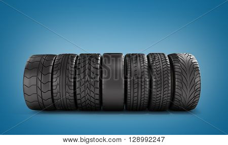 Car Wheels Stand In A Row 3D Illustration
