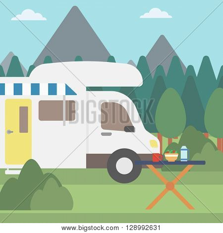Background of motorhome in the forest.
