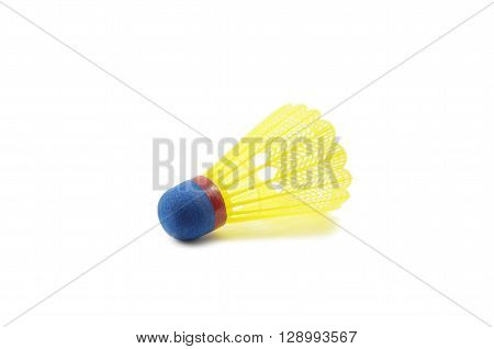 A tennis game shuttlecock on white background
