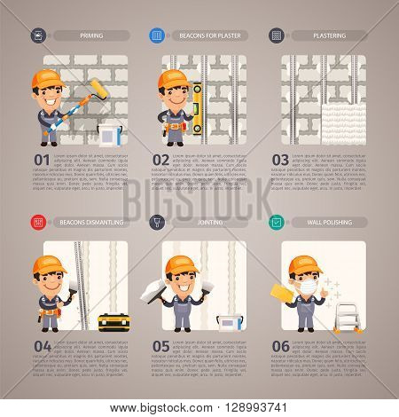 Wall repair step by step with cartoon character. Clipping paths included.