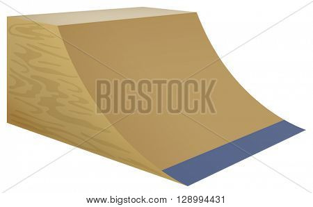 Wooden street ramp on white background illustration