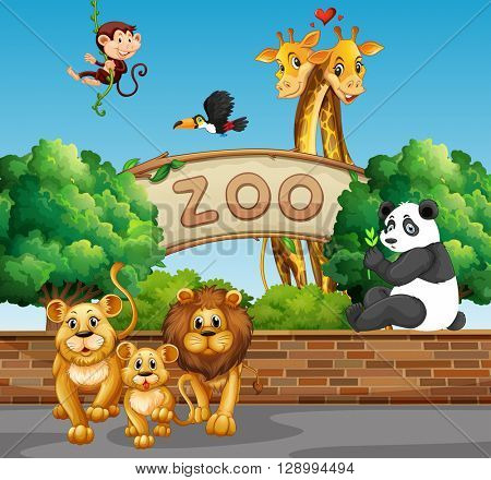 Scene with wild animals at the zoo illustration