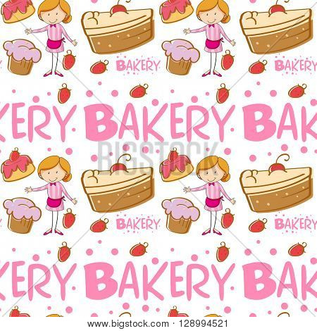 Seamless baker and cakes illustration