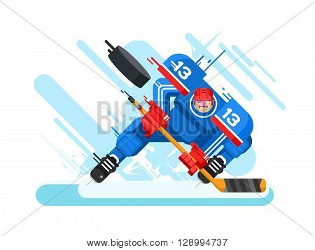 Hockey player character. Protection and stick, puck and hit, athlete and skate, game and competition, vector illustration
