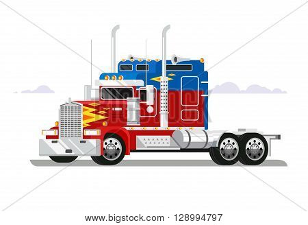 Fura truckers. Truck vehicle, transportation freight, automobile industrial, delivery cargo, flat vector illustration