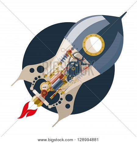 Start up concept, steampunk, rocket, concept of new business project startup development and launch a new innovation and bright product.