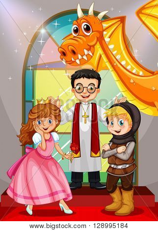 Fairytales characters in the church illustration