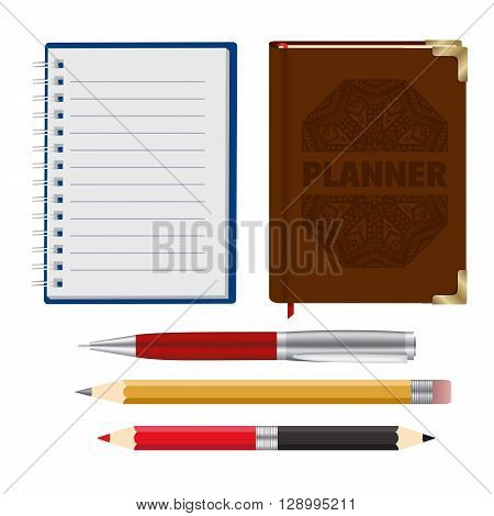 Collection of Brown Organizer, Open Notebook, Realistic Pen and 2 Two Side Red Black and Yellow Pensil for Sketch. Vector Illustration