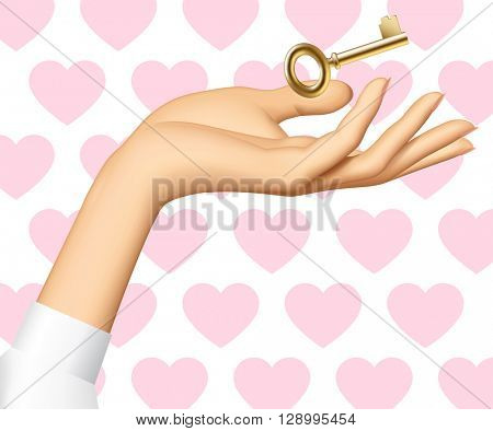 Woman's hand with a golden key isolated on white background with pink hearts. Vector illustration