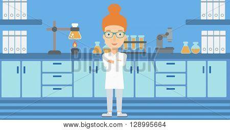 Female laboratory assistant.