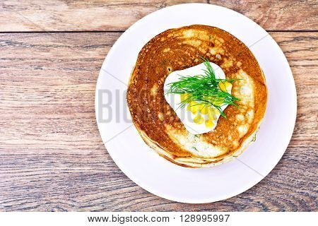 Tasty Pancakes Stack with Sweet Corn Studio Photo