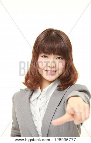 portrait of Japanese businesswoman decided on white background