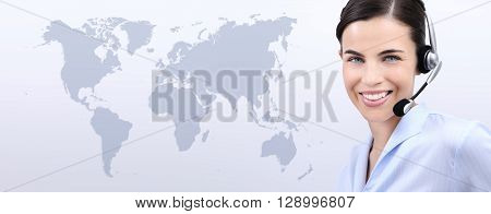 contact us customer service operator woman with headset smiling isolated on international map background