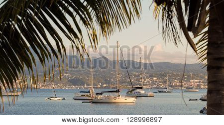 The sailboats moored in Trois Ilets harbour French West Indies.
