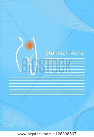 illustration on the theme of medicine - pain in the stomach.