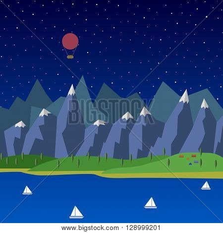 Vector summer landscape. night landscape in the mountains. Solitude in nature by the river. Weekend in the tent. Hiking and camping. Vector flat illustration boats Balloon tent
