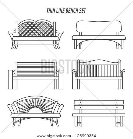 Thin line bench set. Park benches vector icons