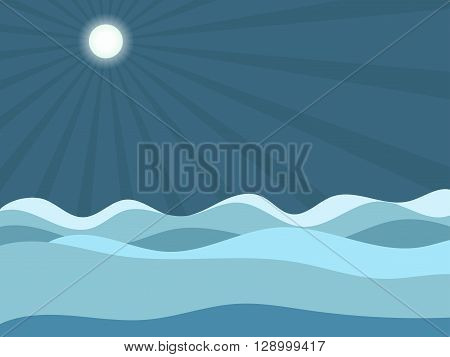 Waves under the moon. Sea waves, the moon in the sky. Vector illustration.