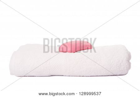 soap and towels on white background, dry, fabric