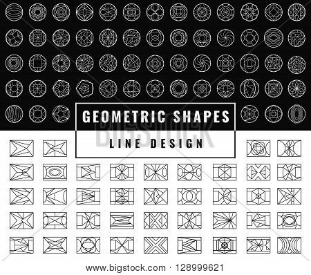 Set of hipster vector geometric shapes. Rectangle and circle abstract. Shapes made using line, rectangle, and other polygons. You can use it for design icons, logos, banners and design elements.