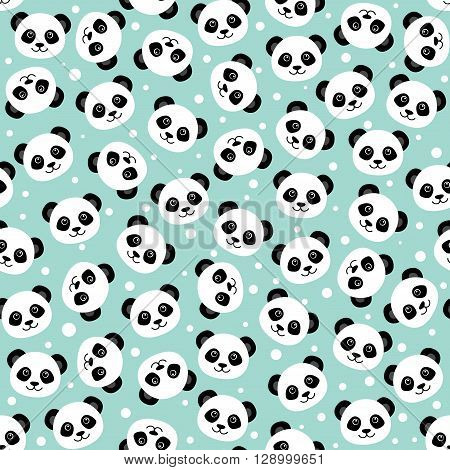 Cute panda face. Seamless cartoon wallpaper. Vector illustration