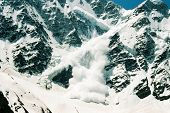stock photo of avalanche  - landscape nature avalanche mountains prielbruse caucasus russia - JPG