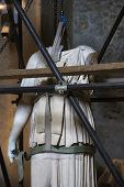 Statue under restoration in Capitolini Museum, Rome, Italy.