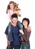 picture of happy dog  - happy parents with daughter standing over white background - JPG