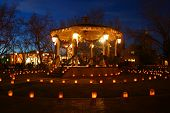 stock photo of luminaria  - christmas eve luminarias around the central gazebo in old town albuquerque nm.