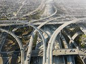 Aerial view of complex highway interchange in Los Angeles California.