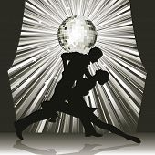 stock photo of waltzing  - Couple silhouette dancing on stage - JPG