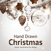 stock photo of taper  - Christmas hand drawn fur tree for xmas design - JPG