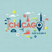Chicago icons and typography design for cards, banners, tshirts, posters poster