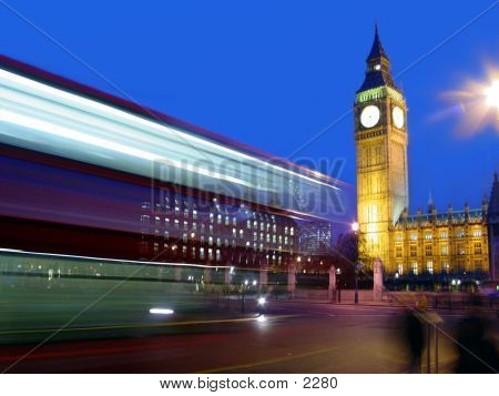 Double Decker Bus Swooshing By Big Ben.