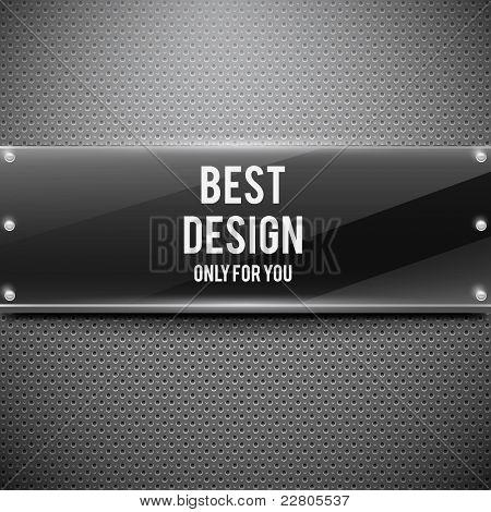 Placa negra brillante en rejilla metálica (ilustración vectorial)