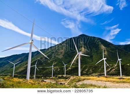Wind farm in the mountains