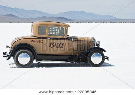 WENDOVER, UT - AUGUST 13: A 1931 Ford Model A on the Bonneville Salt Flats during Bonneville Speed Week on August 13, 2011 near Wendover, UT.