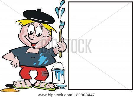 Vector cartoon of smiling artist