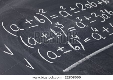 Mathematical Equations On Blackboard
