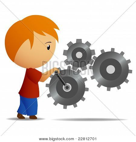 Boy Rotate The Lever Of Gear Mechanism