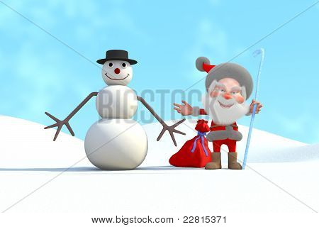 Papai Noel e boneco de neve