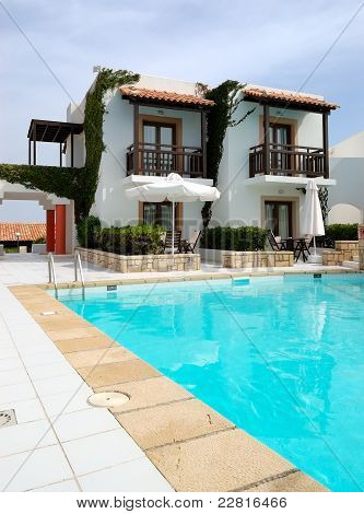 Modern Luxury Villa With Swimming Pool At Luxury Hotel, Crete, Greece