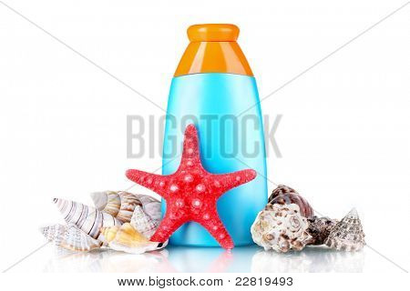 sunblock in bottle, shells and starfish isolated on white
