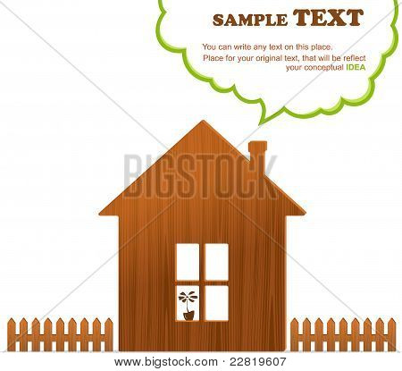 Wooden home, fence and cloud
